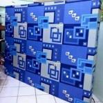 kasur busa super abstrak biru kotak